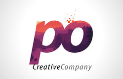 PO P O Letter Logo Design with Purple Forest Texture Flat Vector Stock Photo