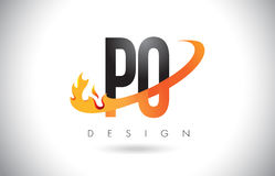 PO P O Letter Logo with Fire Flames Design and Orange Swoosh. Stock Photos
