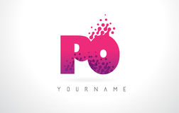 PO P O Letter Logo with Pink Purple Color and Particles Dots Des Stock Images