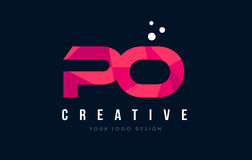 PO P O Letter Logo with Purple Low Poly Pink Triangles Concept Royalty Free Stock Image