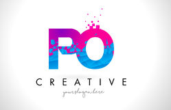PO P O Letter Logo with Shattered Broken Blue Pink Texture Desig Royalty Free Stock Photo