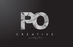 PO P O Letter Logo with Zebra Lines Texture Design Vector. Royalty Free Stock Photos
