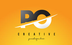 PO P O Letter Modern Logo Design with Yellow Background and Swoo Royalty Free Stock Photos