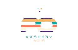 Po p o line stripes pastel color alphabet letter logo icon templ Stock Photography