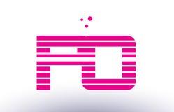 Po p o pink purple line stripe alphabet letter logo vector templ Stock Images