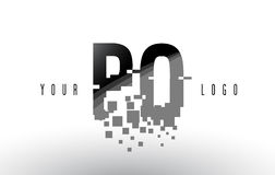 PO P O Pixel Letter Logo with Digital Shattered Black Squares Royalty Free Stock Images