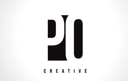 PO P O White Letter Logo Design with Black Square. Royalty Free Stock Images