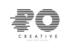 PO P O Zebra Letter Logo Design with Black and White Stripes Royalty Free Stock Photo