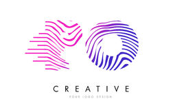 PO P O Zebra Lines Letter Logo Design with Magenta Colors Royalty Free Stock Images