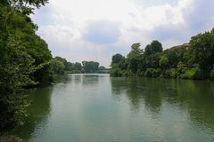 Po river during a cloudy day, turin Italy stock photos