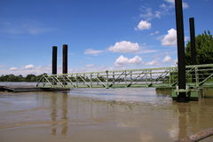 Po river in flood. Docking area on the Po river in flood at Cremona city Royalty Free Stock Photos