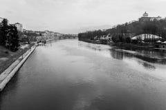 Po River i Turin, Italien Royaltyfri Bild