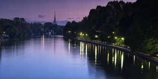 Po river and Mole. In Turin, Piedmont Italy Stock Photos