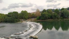Po river in Turin - Italy. View of Po river in Turin - Piedmont - Italy stock video