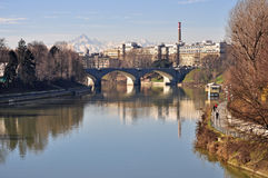 Po river, view of Molinette hospital, Turin Royalty Free Stock Photo
