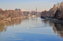 Po river, view of park of Valentino, Turin Stock Photo
