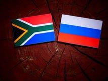 Południe - afrykanin flaga z rosjanin flaga na drzewnym fiszorku Zdjęcie Royalty Free
