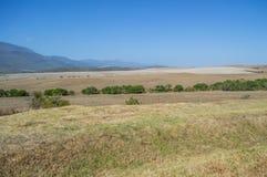 Południe - afrykanina krajobraz z górami i polami Zdjęcia Royalty Free