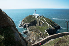Południe sterty latarnia morska, Anglesey, Walia Zdjęcia Royalty Free