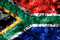 Południowa Afryka dymu flaga na czarnym tle Obraz Stock
