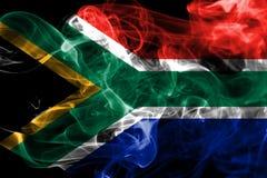 Południowa Afryka dymu flaga na czarnym tle Zdjęcia Royalty Free