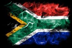 Południowa Afryka dymu flaga na czarnym tle Zdjęcie Royalty Free