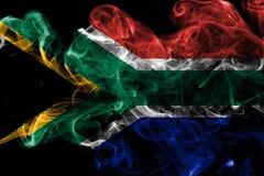 Południowa Afryka dymu flaga na czarnym tle Obrazy Royalty Free