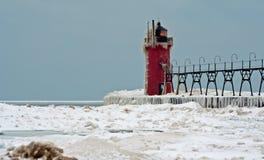 Południowa przystani latarnia morska w zimie Obraz Royalty Free