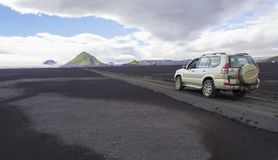 Południowy Iceland, rezerwat przyrody Fjallabak, Lipiec 7, 2018: Z drogi obraz royalty free