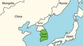 Południowy Korea na mapie wschodni Asia Fotografia Royalty Free