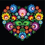 Połysk, Slawistyczny ludowej sztuki sztuki serce z kwiatami na czerni - wzory lowickie, wycinanka Obraz Stock