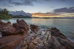 Po zmierzchu na Seychelles Zdjęcia Royalty Free