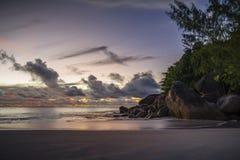 Po zmierzchu przy anse georgette na Seychelles 3 Fotografia Royalty Free
