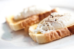Poach egg on buttered toast. Delicious poach egg on buttered toast Stock Images