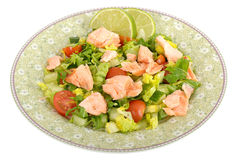 Poach Salmon Fillet with mixed Salad Royalty Free Stock Images