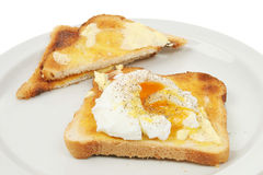 Poached egg. Closeup of Poached egg on toast on a white plate Royalty Free Stock Photos