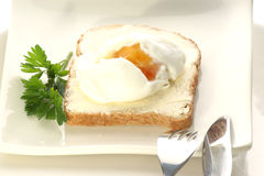 Poached egg. On a slice toast Stock Photography