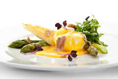 Poached Egg with Asparagus Stock Image