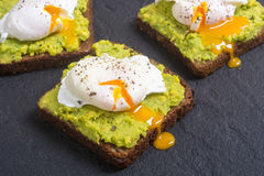 Poached egg and avocado Stock Photos