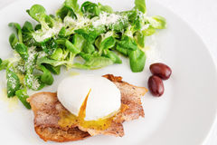 Poached egg with fried bacon on toast  garnished with corn salad Royalty Free Stock Photos