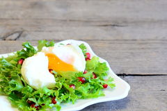 Poached egg, lettuce leaves with pomegranate seeds and olive oil. Healthy salad on a plate on wooden background with copy space Stock Photos