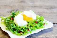 Poached egg, lettuce leaves with pomegranate seeds and olive oil. Healthy salad on a plate on wooden background Stock Image
