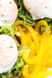 Poached egg, lettuce and yellow bell pepper Stock Photography