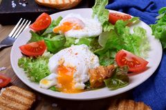 Poached egg with liquid yolk and green salad. On a white plate royalty free stock image