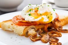 Poached egg with mushrooms and tomatoes stock photos