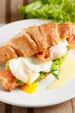 Poached egg with red fish Stock Images