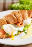 Poached egg with red fish Royalty Free Stock Photos