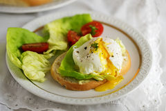 Poached egg with running yolk on baguette slice with salad and t Stock Images
