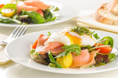 Poached egg salad with smoked salmon Royalty Free Stock Photography