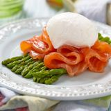 Poached egg with salmon and asparagus Royalty Free Stock Photography